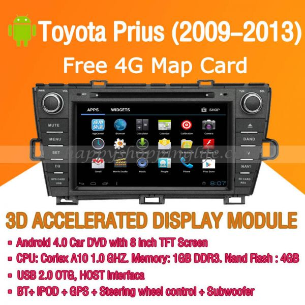 Android Car DVD Player GPS Navigation Wifi 3G for Toyota Prius 2009-2013 Bluetooth Touch Screen